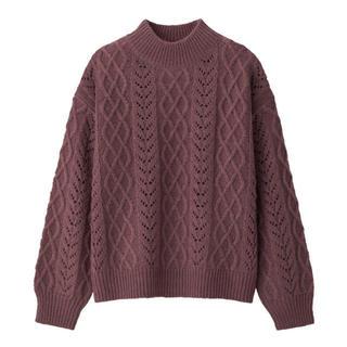 ジーユー(GU)の透かし編みケーブルセーター  ピンク くすみピンク(ニット/セーター)