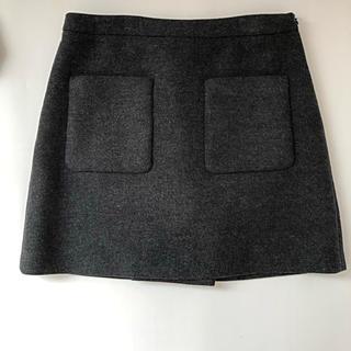 ミュウミュウ(miumiu)のmiumiu チャコールグレー台形スカート(ミニスカート)