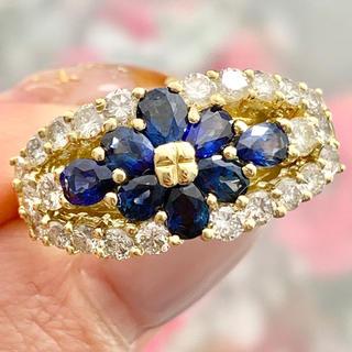 ★ブルーサファイア★ 青いお花✨ ダイヤモンド リング(リング(指輪))