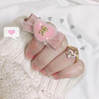 ハニーシナモン(Honey Cinnamon)のふわもこハートのリボンリング(ピンク) セット 指輪 ハンドメイド(リング)
