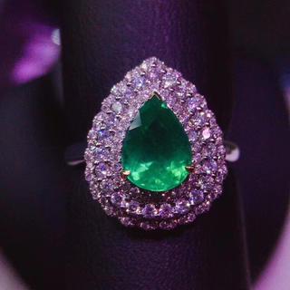 (天使の指輪)天然 ビビッドグリーン エメラルド  リング ペンダント 2Way(リング(指輪))