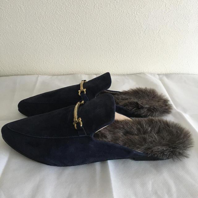 LUCA(ルカ)のLUCA  ファーシューズ ファースリッパ ネイビー ポインテッドトゥ レディースの靴/シューズ(その他)の商品写真