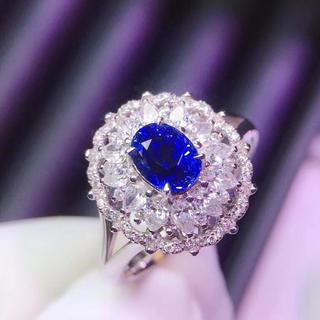 (天使の指輪)天然 非加熱 ロイヤルブルー サファイア ダイヤモンド リング(リング(指輪))