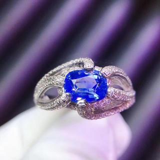 (天使の指輪)天然非加熱 コーンフラワー ブルー ダイヤモンド リング(リング(指輪))