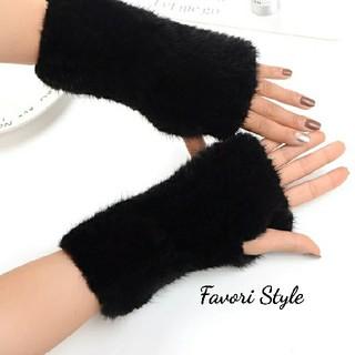 フォクシー(FOXEY)の高品質 ミンクファー 手袋 アームカバー   ブラック(手袋)