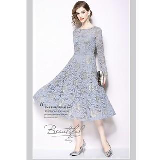 結婚式ドレスグレー3XLロング即納長袖ミモレレース花柄大きいサイズ月華188(ロングドレス)
