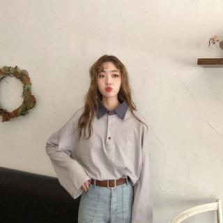 17kg bicolor polo shirt パープル(シャツ/ブラウス(長袖/七分))