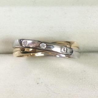 ★サイズ15号★プラチナPt900&K18ダイヤモンドリング★2連タイプ★(リング(指輪))