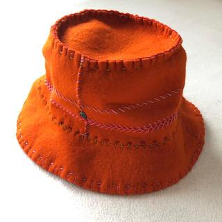 ヘレンカミンスキー(HELEN KAMINSKI)の美品 ヘレンカミンスキー  フェルトウールハット オレンジソフト帽子(ハット)