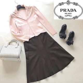プラダ(PRADA)のPRADA プラダ ウールフレアスカート ブラウン38(ひざ丈スカート)