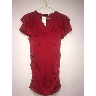 キャバドレス 2枚セット レッド&ホワイト(ナイトドレス)