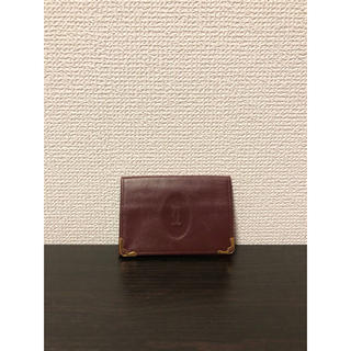 カルティエ(Cartier)の美品 レア型 カルティエ マストライン カード パスケース ボルドー(名刺入れ/定期入れ)
