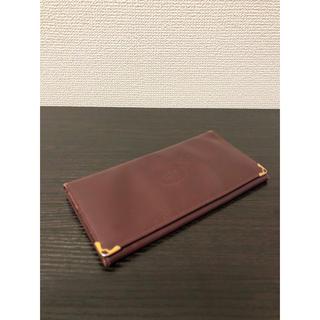 カルティエ(Cartier)の美品 カルティエ マストライン 二つ折り長財布 レザー ボルドー ヴィンテージ(長財布)