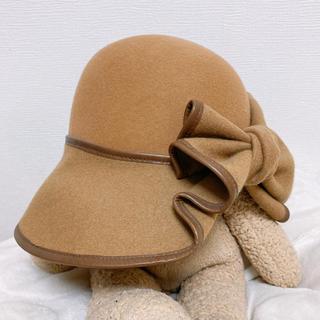 CA4LA - ca4la 牛革パイピングウールリボン帽子 ハット キャメル 未使用