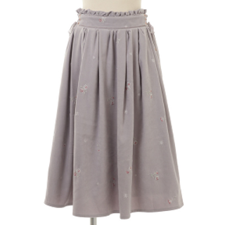 リズリサ(LIZ LISA)の刺繍ミモレ丈スカート グレー LIZ LISA 新品 未使用 送料込み(ロングスカート)