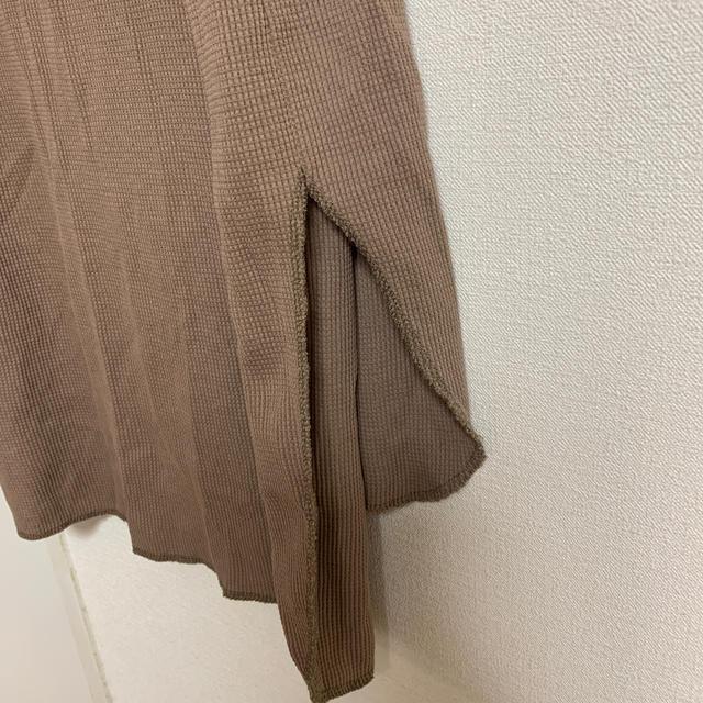 GU(ジーユー)のベージュ しちぶたけ レディースのトップス(Tシャツ(長袖/七分))の商品写真