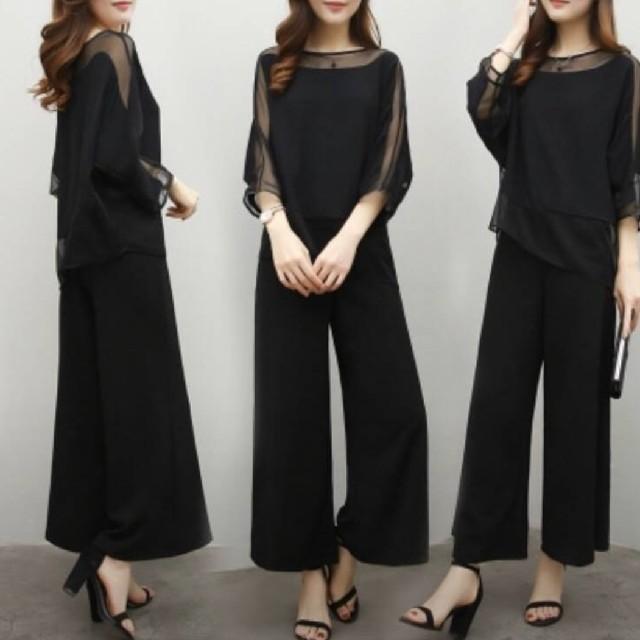冠婚葬祭 卒業式 入学式 上下 フォーマルパンツ レディースのフォーマル/ドレス(スーツ)の商品写真