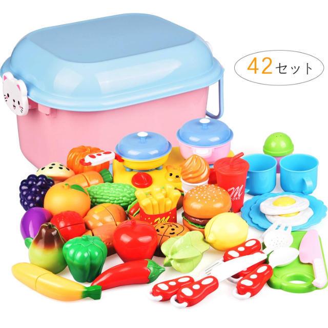 42点セット おままごと キッチン 二人遊びセット 収納ボックス 野菜 果物 キッズ/ベビー/マタニティのおもちゃ(知育玩具)の商品写真