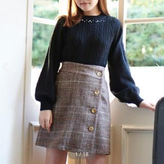 MAJESTIC LEGON - チェックラップボタンスカート