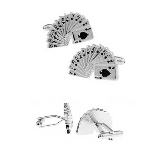トランプ カフスボタン シルバー カード カフスリンクス ネクタイ タイピン メンズのファッション小物(カフリンクス)の商品写真