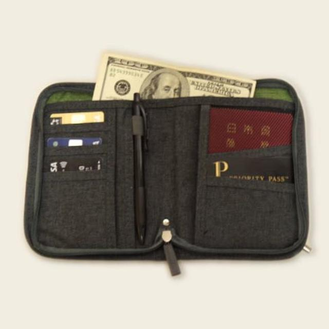 【グレー】財布 小銭入れ パスポートケース カバー チケット 収納 メンズのファッション小物(折り財布)の商品写真