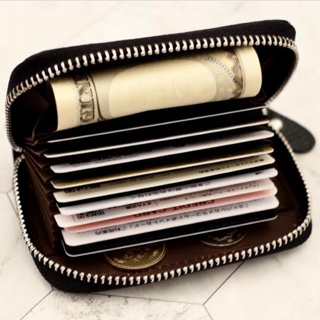 財布 カードケース メンズ レディース 大容量 黒 本革 じゃばら 薄型 新品 メンズのファッション小物(名刺入れ/定期入れ)の商品写真