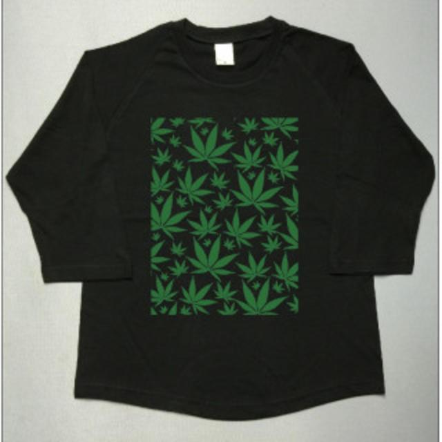 ガンジャ☆葉っぱ☆マリファナ模様☆七分袖ラグランutn348 メンズのトップス(Tシャツ/カットソー(七分/長袖))の商品写真