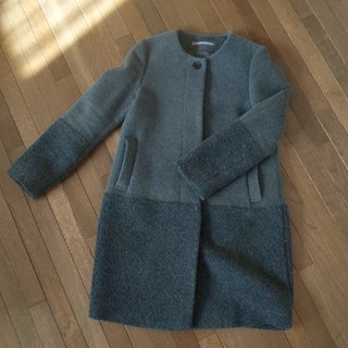 DOUBLE STANDARD CLOTHING - ダブスタ グレーボアミックスコート