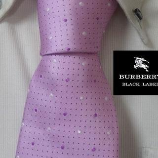 BURBERRY BLACK LABEL - 希少★バーバリーブラックレーベル【光沢ピンクドット柄】高級ネクタイ★レア