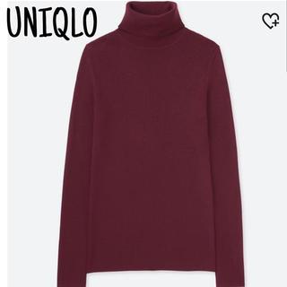 ユニクロ(UNIQLO)の新品タグ付 ユニクロ エクストラファインメリノリブタートルネック L ワイン(ニット/セーター)