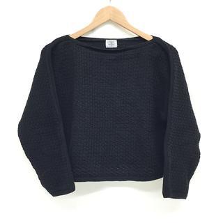 メゾンドリーファー(Maison de Reefur)の美品 レディース ニット セーター コットン 短め丈 黒 ブラック サイズ 38(ニット/セーター)