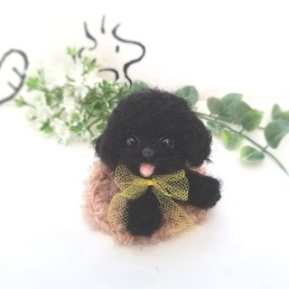 羊毛フェルト トイプードル 黒 ブラック ミニチュア 犬(ぬいぐるみ)