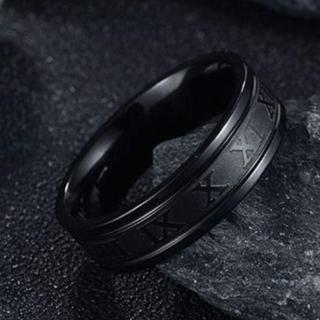 ローマ数字 ステンレス リング ブラック 黒色 指輪 26号(リング(指輪))