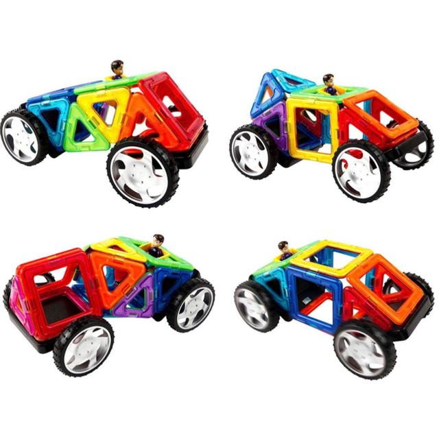 BorneLund(ボーネルンド)のマグフォーマー 124ピース+タイヤパーツ2個 キッズ/ベビー/マタニティのおもちゃ(知育玩具)の商品写真