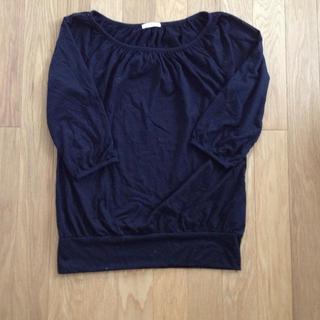 ジーユー(GU)のGU ギャザークルーネックT ブラック(Tシャツ(長袖/七分))