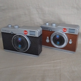 カルディ(KALDI)のKALDI  カメラ缶  2個セット(ブラック&ブラウン)(菓子/デザート)