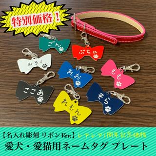 【名入れ彫刻】愛犬・愛猫用 ネームタグ プレート リボンVer.(犬)