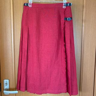 オニール(O'NEILL)の新品未使用オニールオブダブリン ラップスカートL 40 赤 リネン100%(ひざ丈スカート)