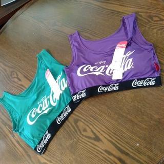 コカコーラ(コカ・コーラ)の新品未使用★Coca-Colaカップ付きハーフトップ(ベアトップ/チューブトップ)