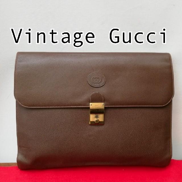 Gucci(グッチ)の良品 オールドグッチ ビンテージレザークラッチバッグ セカンドバッグ 男女兼用 メンズのバッグ(セカンドバッグ/クラッチバッグ)の商品写真