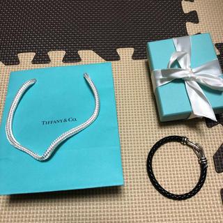 Tiffany & Co. - 美品 ティファニー シングルブレイド ブレスレット レザー 黒