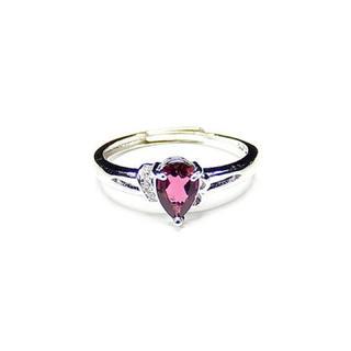 トルマリンリング宝石質天然石925銀指輪赤系17号石街U0197(リング(指輪))