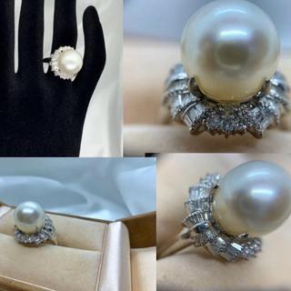 ♦︎♦︎PT900《真珠ダイヤリング》★大粒★真珠約13㍉♦︎♦︎(リング(指輪))
