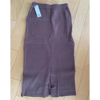 ジーユー(GU)のGU ワイドリブニット ナロースカート(ロングスカート)