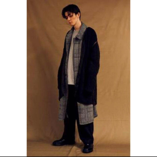 SUNSEA - YOKE 18AW 3G KNIT BOA LINNER COAT black