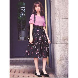 リランドチュール(Rirandture)のリラ♡ ベロアフラワースカート(ひざ丈スカート)