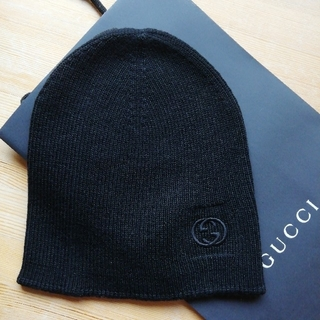 Gucci - 正規品 グッチ ニット帽 新品、タグ、箱付き 黒