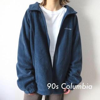 Columbia - 90s コロンビア 刺繍ロゴ ボアフリースジャケット スモーキーブルー 古着