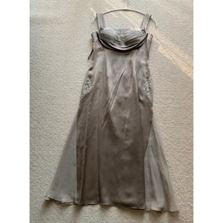 グレージュ シルク スワロフスキー ワンピース ドレス(ロングワンピース/マキシワンピース)