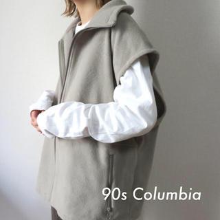 Columbia - 90s コロンビア 刺繍ロゴ フリースベスト ベージュ 古着 vintage